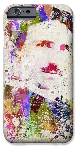 Splutter Digital Art iPhone Cases - Tesla in Color iPhone Case by Aged Pixel