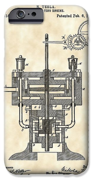 Capacitors iPhone Cases - Tesla Reciprocating Engine Patent 1894 - Vintage iPhone Case by Stephen Younts