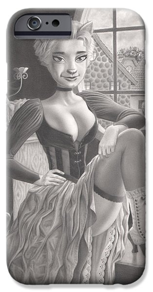 Creepy Drawings iPhone Cases - Tess iPhone Case by Richard Moore