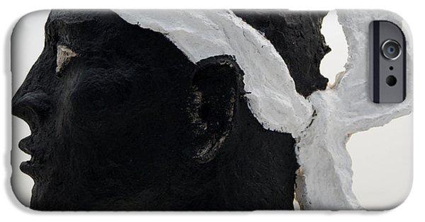 Santa Reliefs iPhone Cases - Tete de Maure - papier mache iPhone Case by Christian V Stanescu