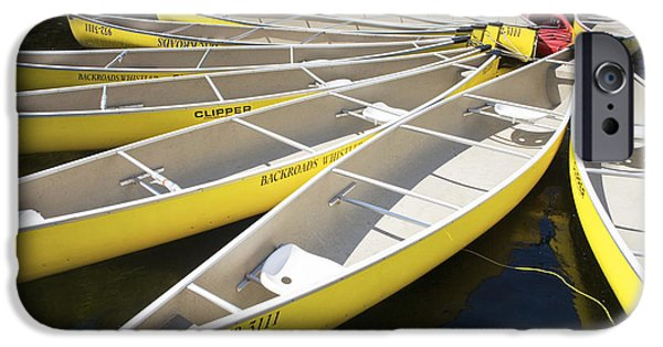 Canoe iPhone Cases - Tethered Yellow Canoes at Lost Lake in Whistler British Columbia iPhone Case by Randall Nyhof