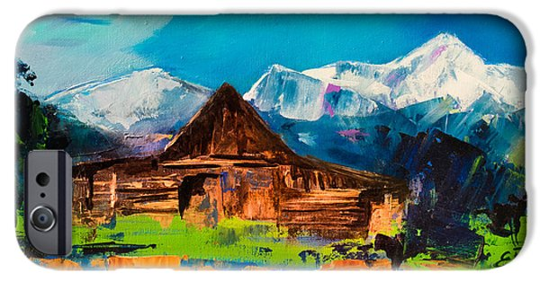 Barns Paintings iPhone Cases - Teton Barn  iPhone Case by Elise Palmigiani