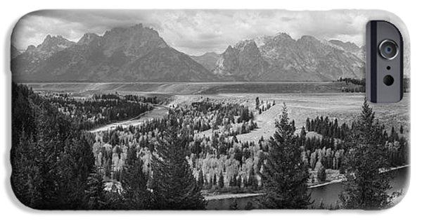 Overcast Day iPhone Cases - Teton Mountain Range Panorama iPhone Case by Vishwanath Bhat