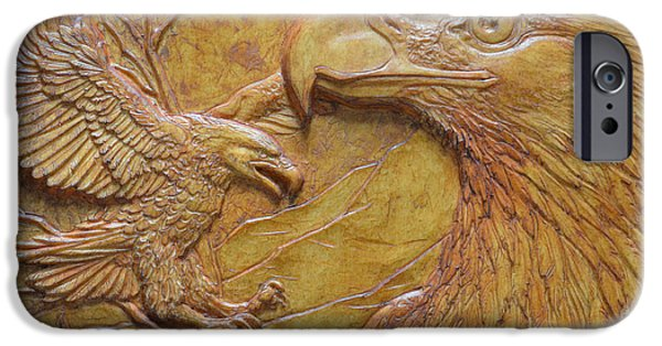 Relief Sculpture Reliefs iPhone Cases - Teton Pair iPhone Case by Jeremiah Welsh