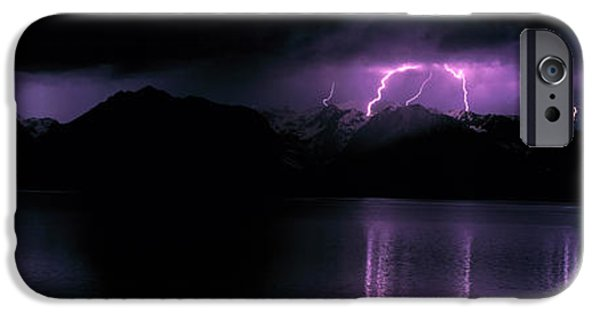 Electrical iPhone Cases - Teton Range Wlightning Grand Teton iPhone Case by Panoramic Images
