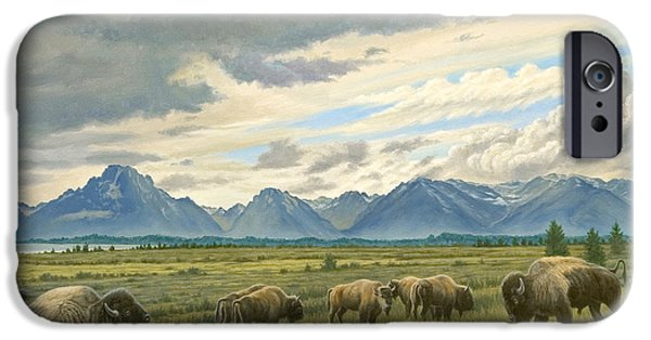 Bison iPhone Cases - Tetons-Buffalo  iPhone Case by Paul Krapf