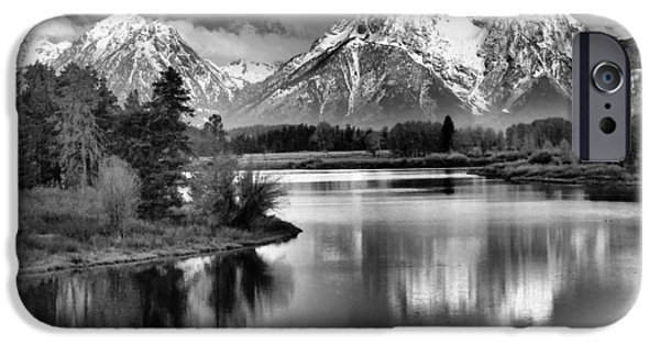 Reflecting Trees iPhone Cases - Tetons In Black And White iPhone Case by Dan Sproul