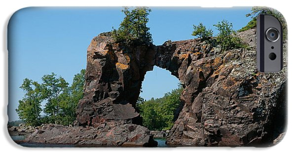 Sandra Updyke iPhone Cases - Tettegouche Arch by kayak iPhone Case by Sandra Updyke