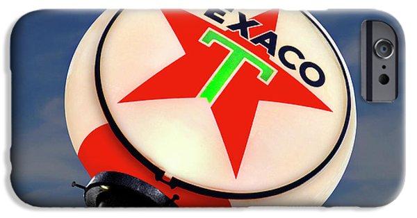 Globe iPhone Cases - Texaco Star Globe iPhone Case by Mike McGlothlen