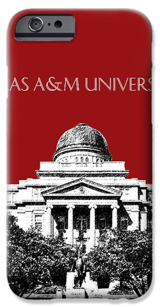 Pen And Ink Digital Art iPhone Cases - Texas A and M University - Dark Red iPhone Case by DB Artist