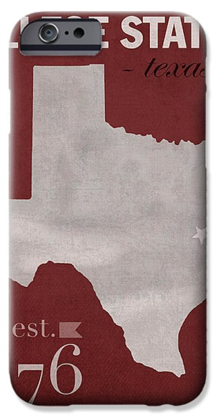 Universities Mixed Media iPhone Cases - Texas A and M University Aggies College Station College Town State Map Poster Series No 106 iPhone Case by Design Turnpike