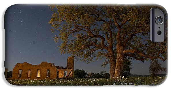 Moonlit Night Photographs iPhone Cases - Texas Blue Bonnets at Night iPhone Case by Keith Kapple