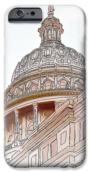 Pen And Ink iPhone Cases - Texas Capitol Sketch iPhone Case by David and Carol Kelly