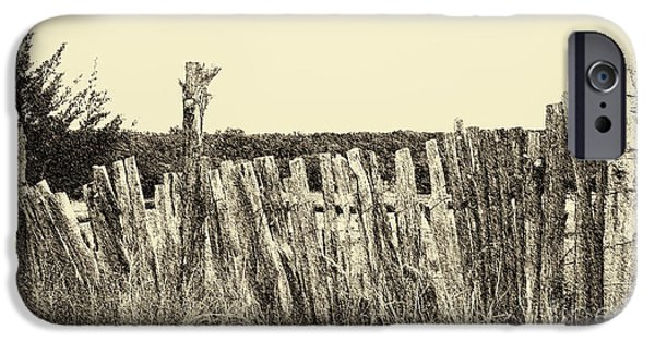 Dirty iPhone Cases - Texas Fence in Sepia iPhone Case by Luther  Fine Art