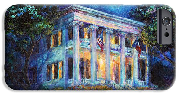 """texas Artist"" iPhone Cases - Texas Governor Mansion painting iPhone Case by Svetlana Novikova"