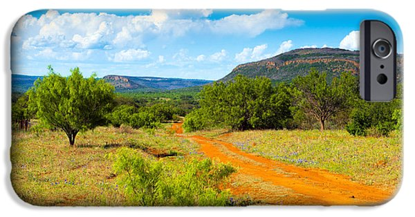 Country Dirt Roads iPhone Cases - Texas Hill Country Red Dirt Road iPhone Case by Darryl Dalton