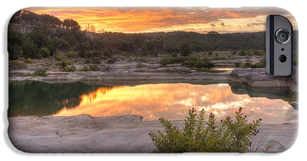 Fall Photos iPhone Cases - Texas Landscape Images - Pedernales Falls State Park August Sunr iPhone Case by Rob Greebon