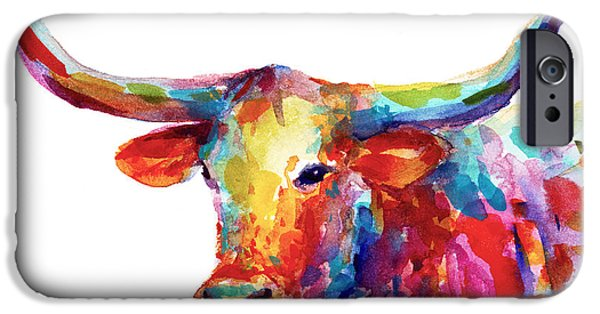 Whimsy Paintings iPhone Cases - Texas Longhorn art iPhone Case by Svetlana Novikova