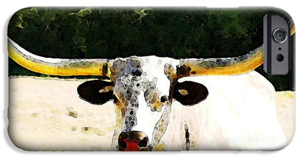 Texas Longhorn iPhone Cases - Texas Longhorn - Bull Cow iPhone Case by Sharon Cummings