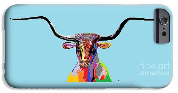 Surrealism Digital iPhone Cases - Texas Longhorn iPhone Case by Eloise Schneider