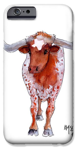 """texas Artist"" iPhone Cases - Texas Longhorn iPhone Case by Kathleen McElwaine"