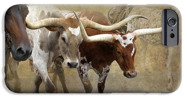 Animals Photographs iPhone Cases - Texas Longhorns iPhone Case by Angie Vogel