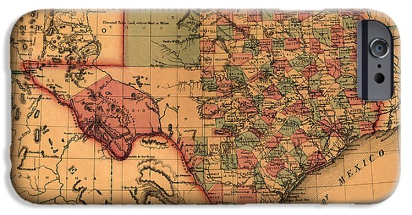 Texas Drawings iPhone Cases - Texas Map Art - Vintage Antique map of Texas iPhone Case by World Art Prints And Designs