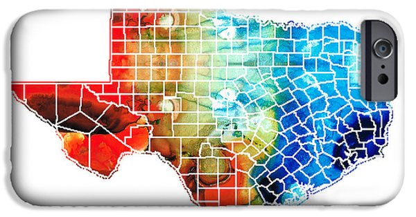 Rio Grande iPhone Cases - Texas Map - Counties By Sharon Cummings iPhone Case by Sharon Cummings