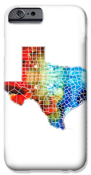 River Mixed Media iPhone Cases - Texas Map - Counties By Sharon Cummings iPhone Case by Sharon Cummings