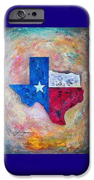 Rio Grande iPhone Cases - Texas Map Flag iPhone Case by Dan Haraga
