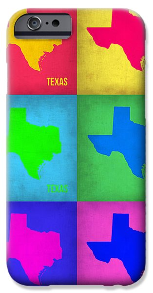 Home iPhone Cases - Texas Pop Art Map 1 iPhone Case by Naxart Studio