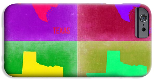World Map Poster Digital Art iPhone Cases - Texas Pop Art Map 2 iPhone Case by Naxart Studio