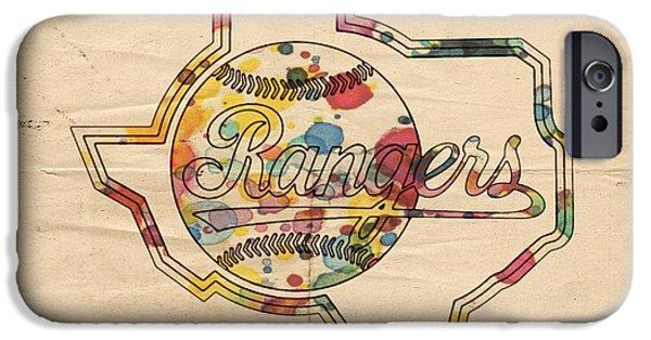Baseball iPhone Cases - Texas Rangers Logo Vintage iPhone Case by Florian Rodarte