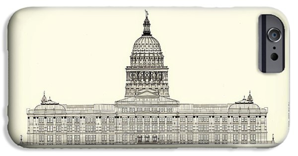Concept Drawings iPhone Cases - Texas State Capitol Architectural Design iPhone Case by Mountain Dreams