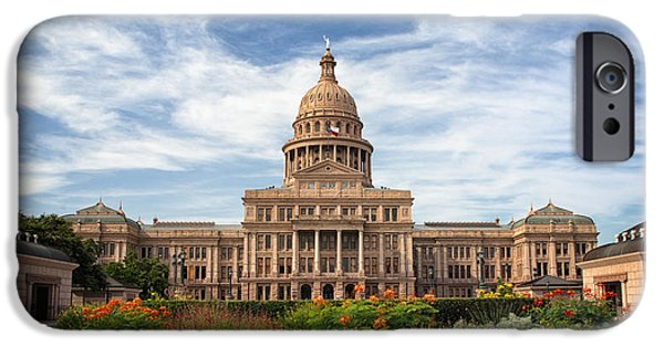Flag iPhone Cases - Texas State Capitol II iPhone Case by Joan Carroll