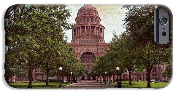 Flag iPhone Cases - Texas State Capitol III iPhone Case by Joan Carroll