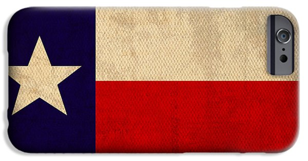 States Mixed Media iPhone Cases - Texas State Flag Lone Star State Art on Worn Canvas iPhone Case by Design Turnpike