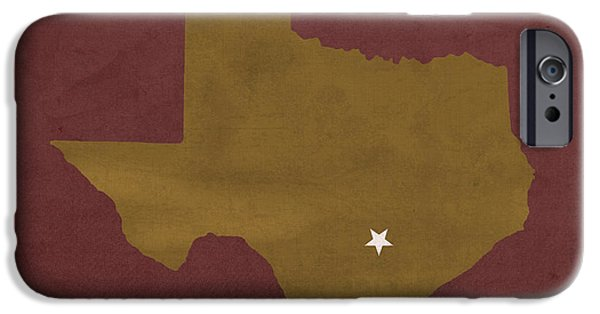 Bobcats Mixed Media iPhone Cases - Texas State University Bobcats San Marcos College Town State Map Pillow iPhone Case by Design Turnpike