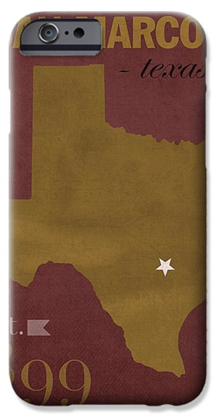 Bobcats Mixed Media iPhone Cases - Texas State University Bobcats San Marcos College Town State Map Poster Series No 108 iPhone Case by Design Turnpike