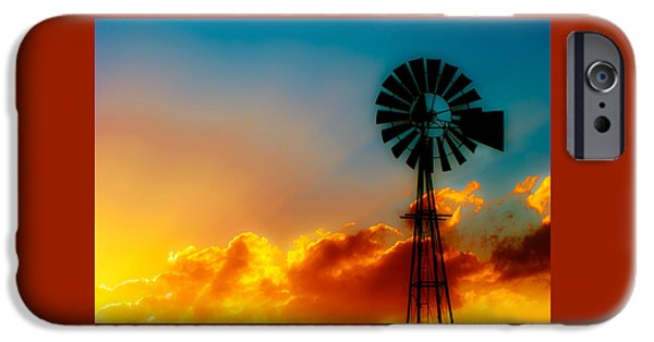 Windmills iPhone Cases - Texas Sunrise iPhone Case by Darryl Dalton
