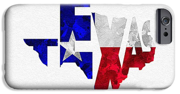 Original Watercolor iPhone Cases - Texas Typographic Map Flag iPhone Case by Ayse Deniz