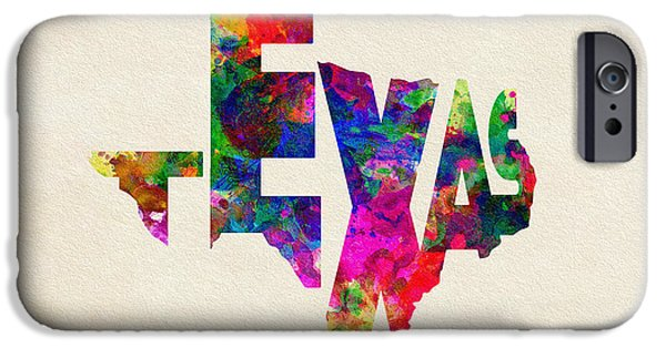 Dirty iPhone Cases - Texas Typographic Watercolor Flag iPhone Case by Ayse Deniz
