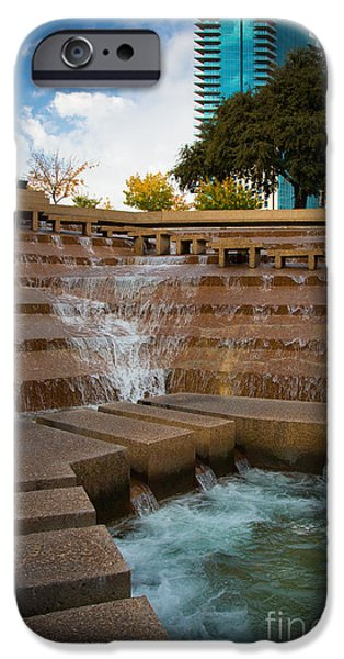 Downtown Stairs iPhone Cases - Texas Water Gardens iPhone Case by Inge Johnsson