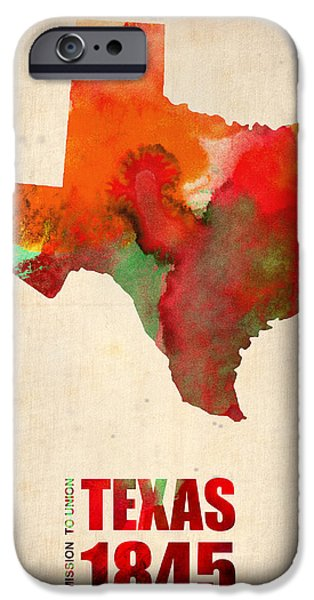 World Digital Art iPhone Cases - Texas Watercolor Map iPhone Case by Naxart Studio