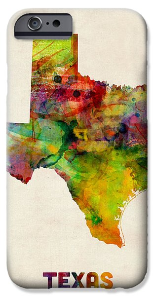 Geography iPhone Cases - Texas Watercolor Map iPhone Case by Michael Tompsett