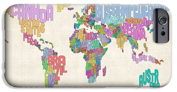 Text Map iPhone Cases - Text Map of the World Map iPhone Case by Michael Tompsett