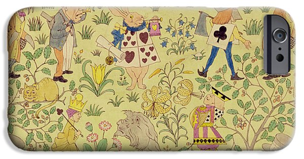 Mad Hatter iPhone Cases - Textile design for Alice in Wonderland iPhone Case by Voysey