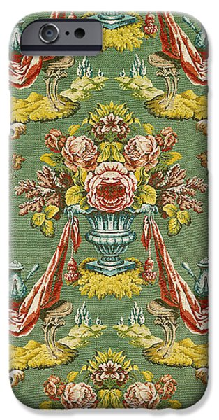 Lyon iPhone Cases - Textile With A Repeating Floral Motif, Lyon Workshop, C.1730 Silk Brocade iPhone Case by French School