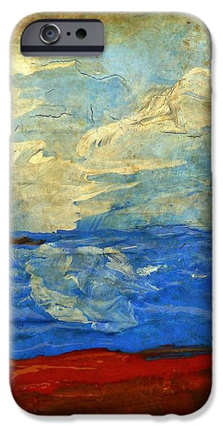 Textured Beach Scene Painting Fine Art Print iPhone Case by Laura  Carter