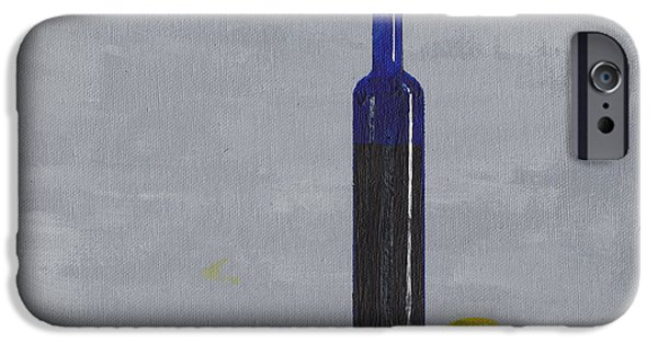 Wine Bottles iPhone Cases - The Blue Bottle by David I. Jackson iPhone Case by David Jackson